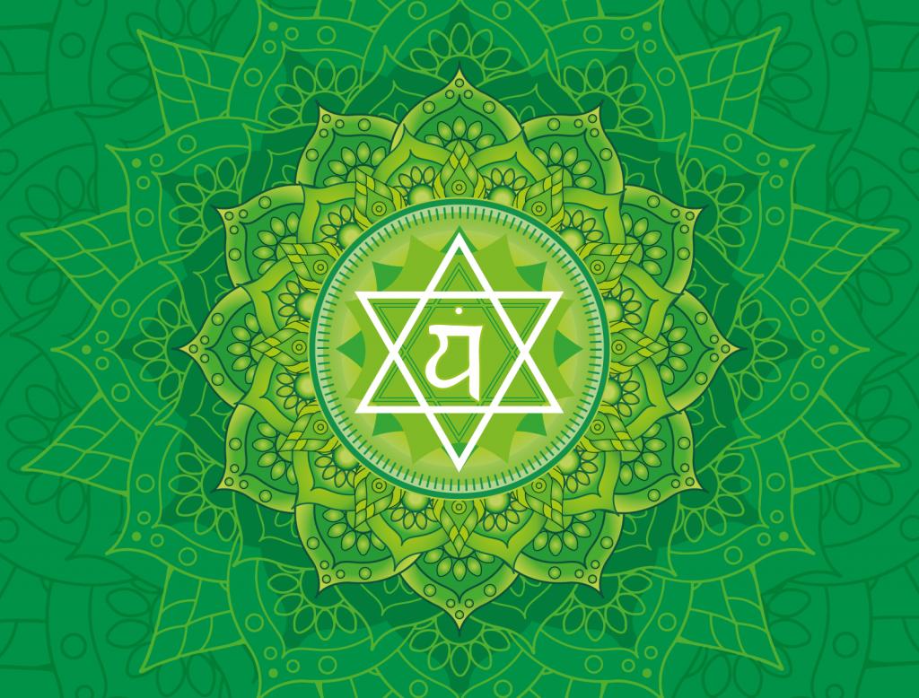 Green color Anahata chakra illustration