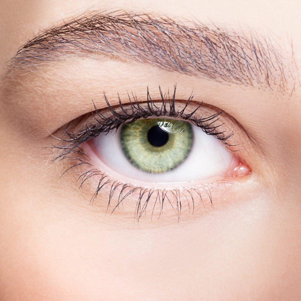 Closeup of female light green colored eye
