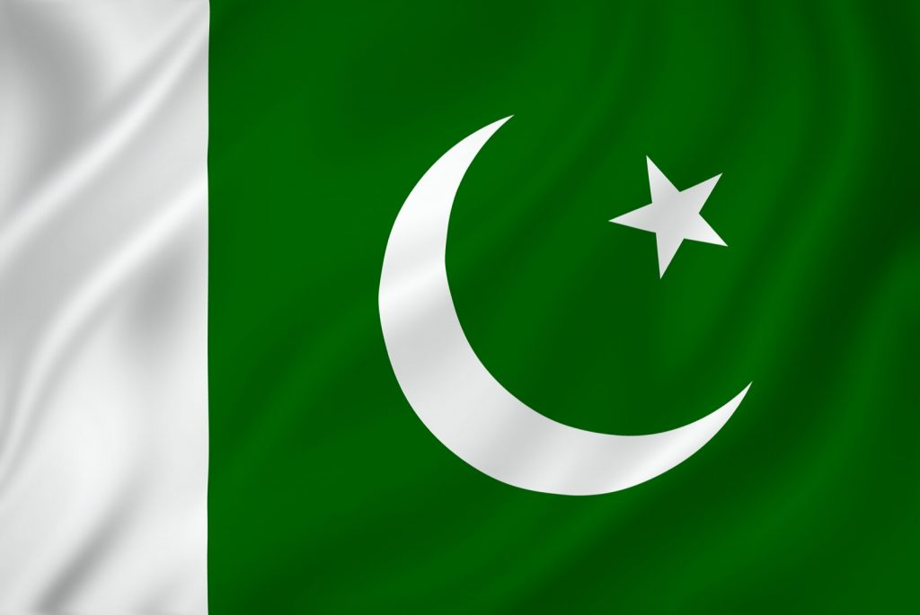 Green and white national flag of Pakistan