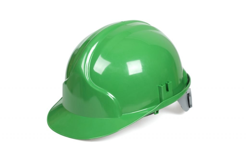Green hard hat isolated on white background
