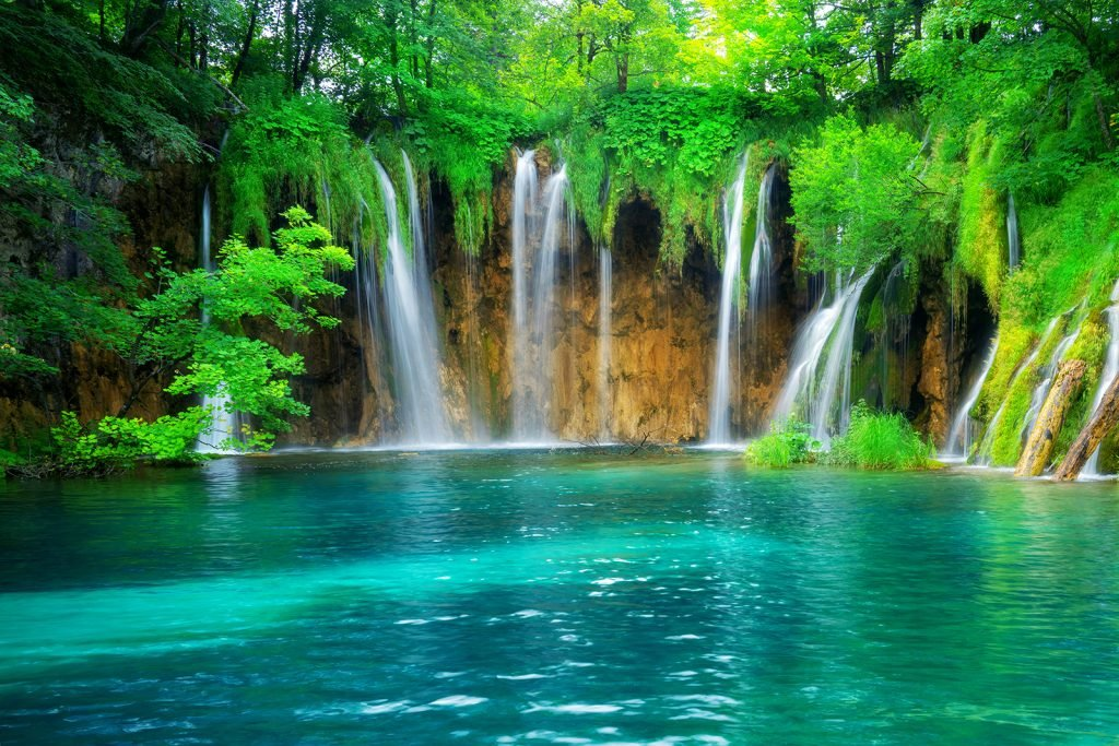 Green paradise with exotic waterfall and lake landscape