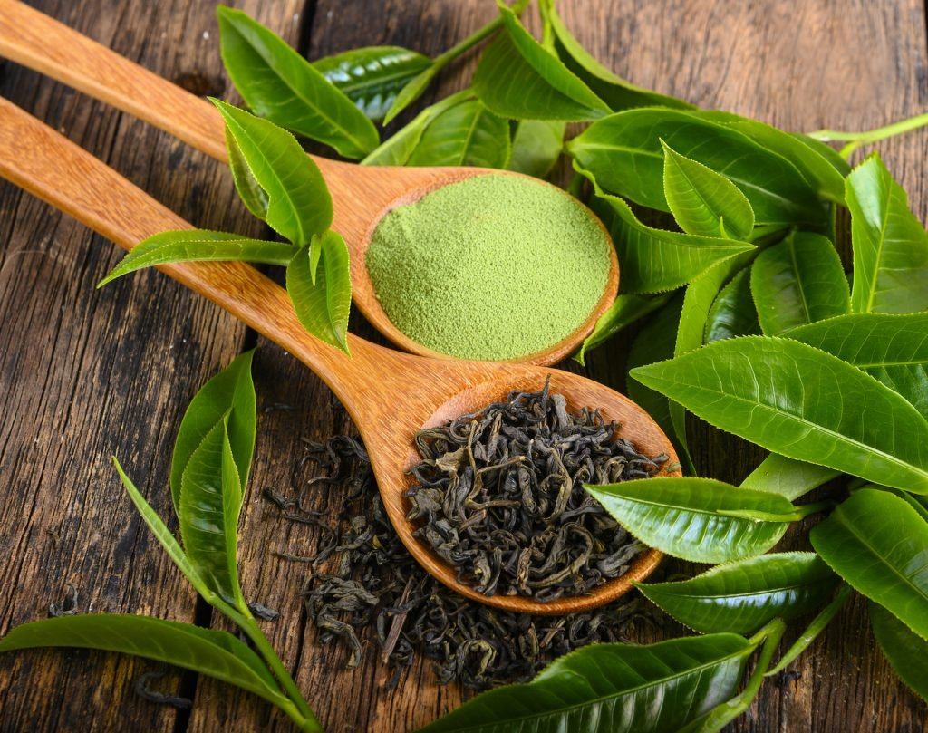 Dried green tea leafs and powder on wooden background