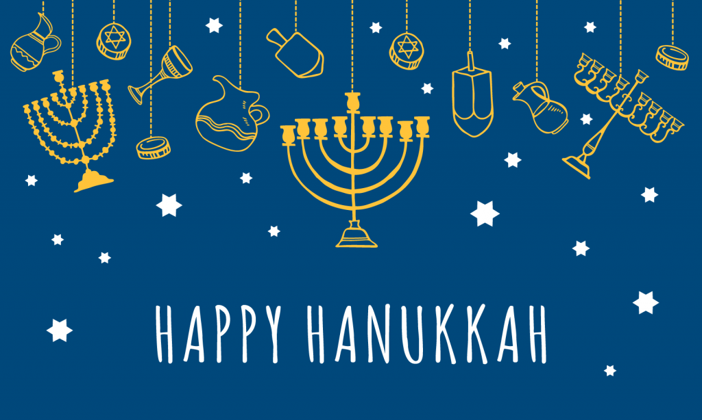 Blue colored greeting card with traditional Hanukkah objects hanging on top