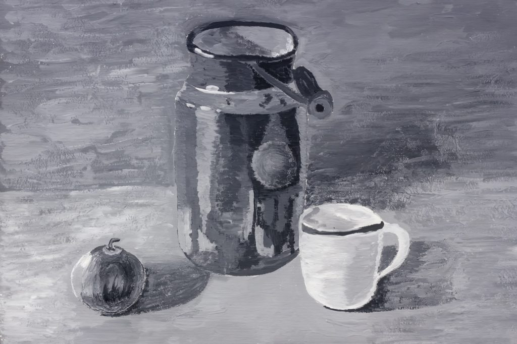 Grisaille painting of apple and cup using only shades of gray