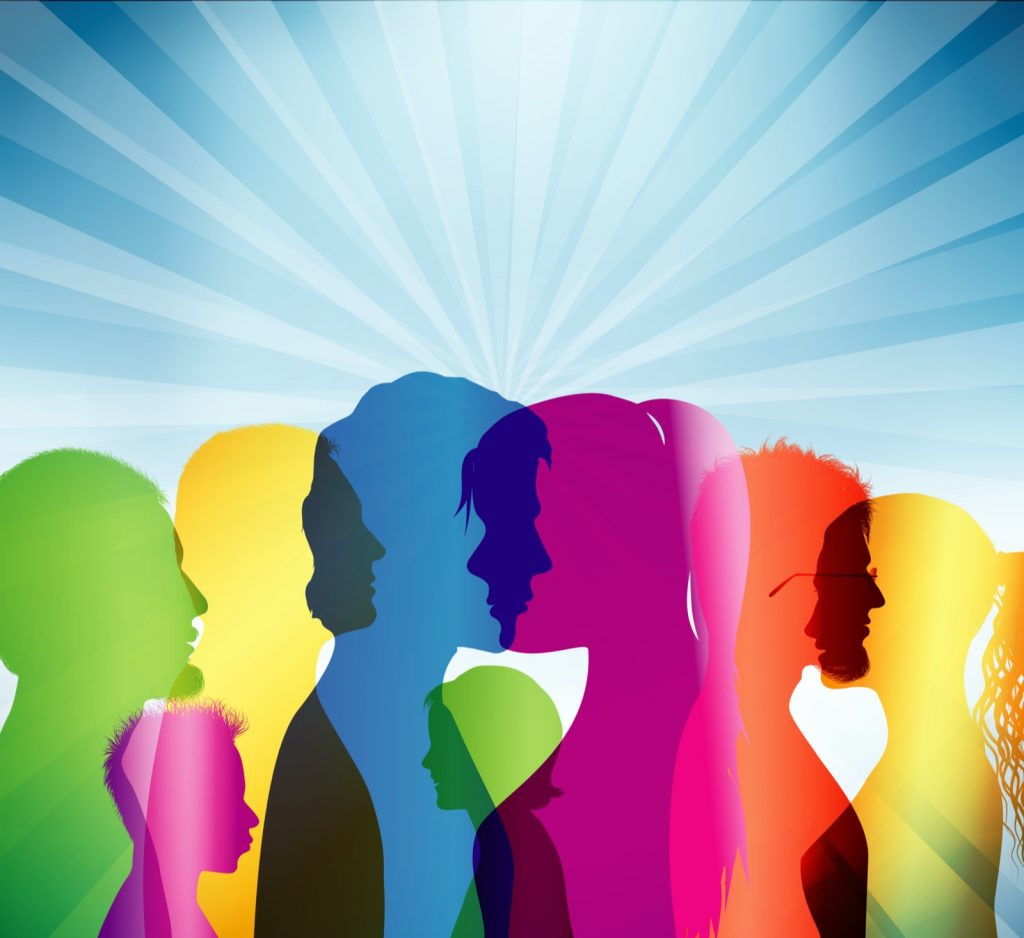 Group of people as colored silhouette profiles symbolizing individuality