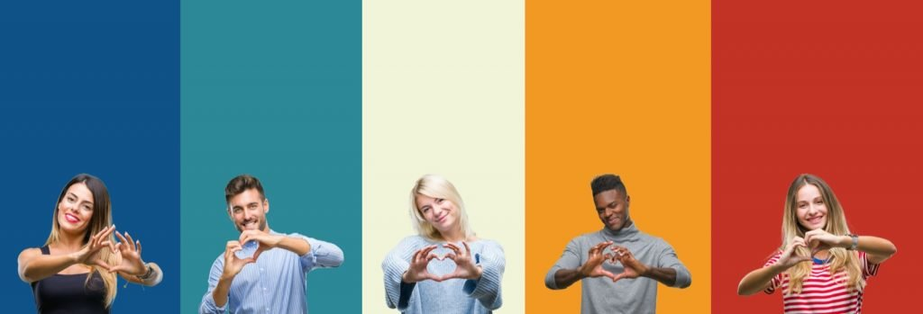 Group of people on colorful backgrounds showing heart or love symbols with their hands