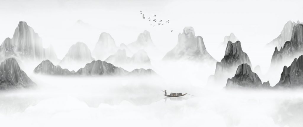 Hand painted Chinese ink landscape in gray tones