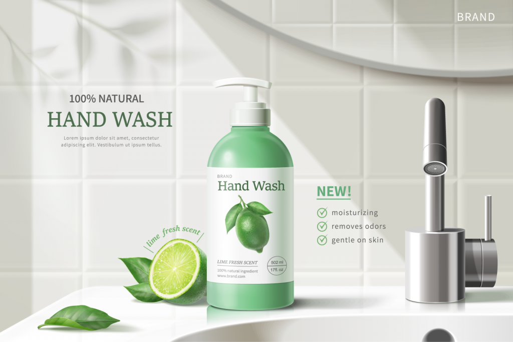 Hand wash advertisement using movement to create the right flow of the design