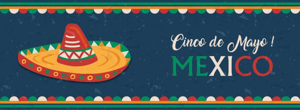 Happy Cinco de Mayo banner with Mexican mariachi hat