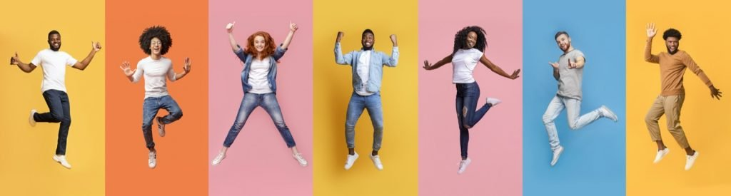 Collage of happy people jumping on colorful backgrounds