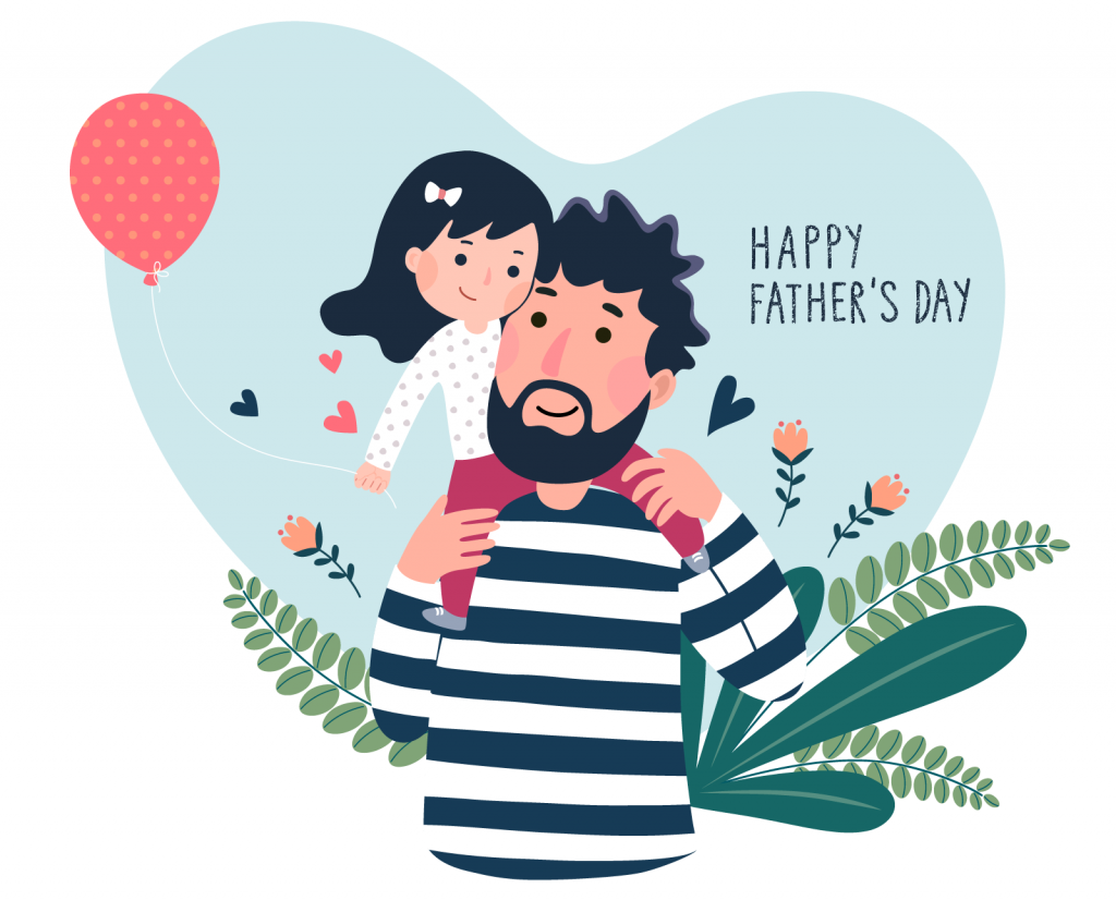 Happy Father's Day illustration with a little girl on her dads shoulders