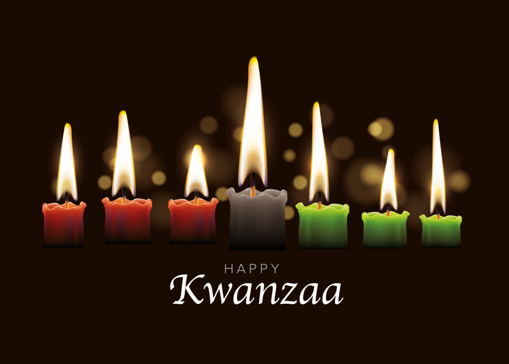 Happy Kwanzaa greeting with seven candles in black, red, and green colors