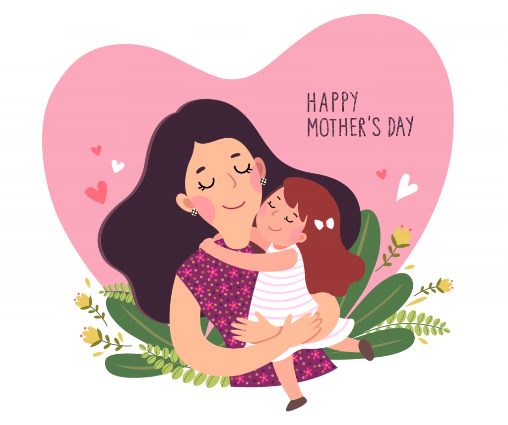 Happy Mother's Day illustration with a little girl hugging her loving mom