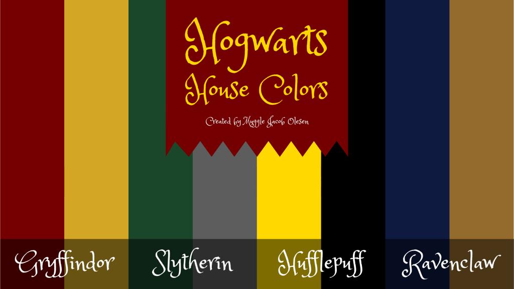 Illustration of Harry Potter house colors at Hogwarts