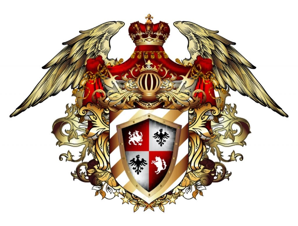 Heraldic shield with a crown and wings isolated on white background