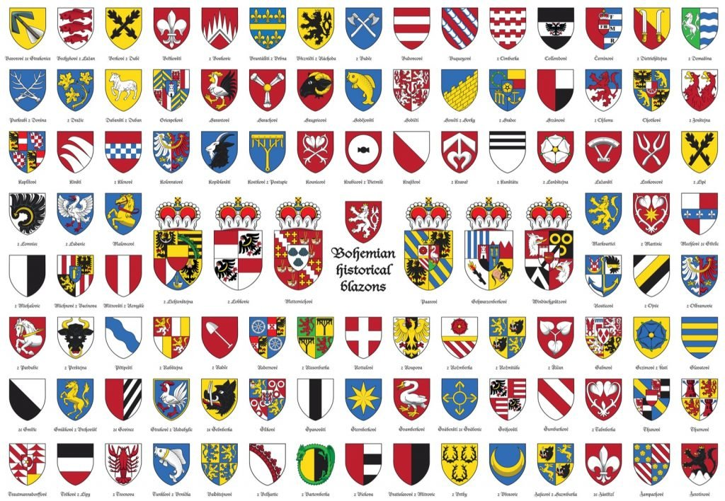 Bohemian historical blazons shows different coat of arms symbols used in heraldry