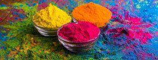 Holi color powder. Organic Gulal colours in bowl for Holi festival, Hindu tradition festive. Bright vibrant pigment closeup.