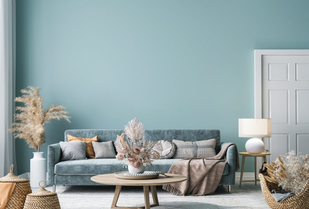 Home interior mock-up in blue-green living room