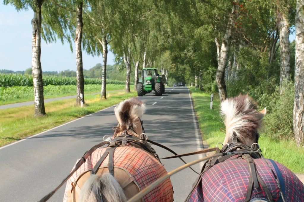 Photo of horse-drawn vehicle passing green tractor on the road