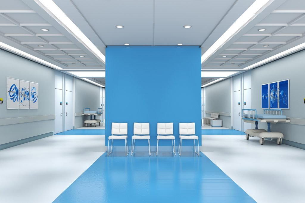 Hospital with blue colored walls and calming pictures in dark blue colors