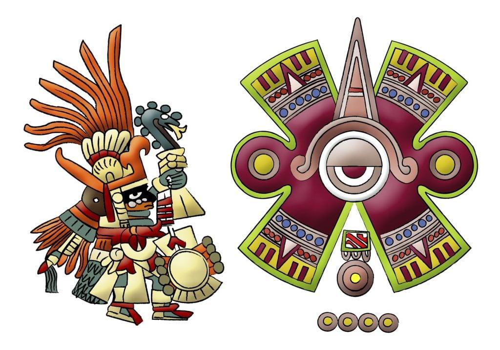 Huitzilopochtli aztec, mayan god of sun illustration on white background