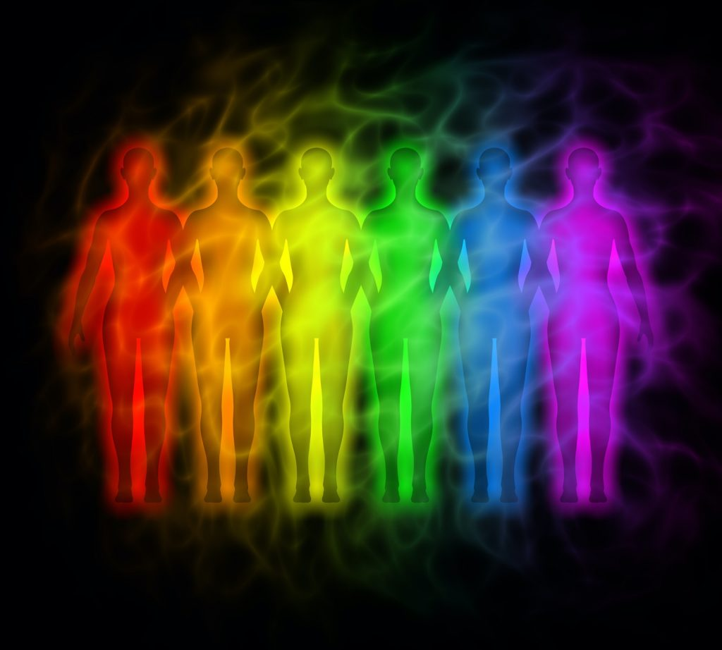 Rainbow silhouettes of different human aura colors