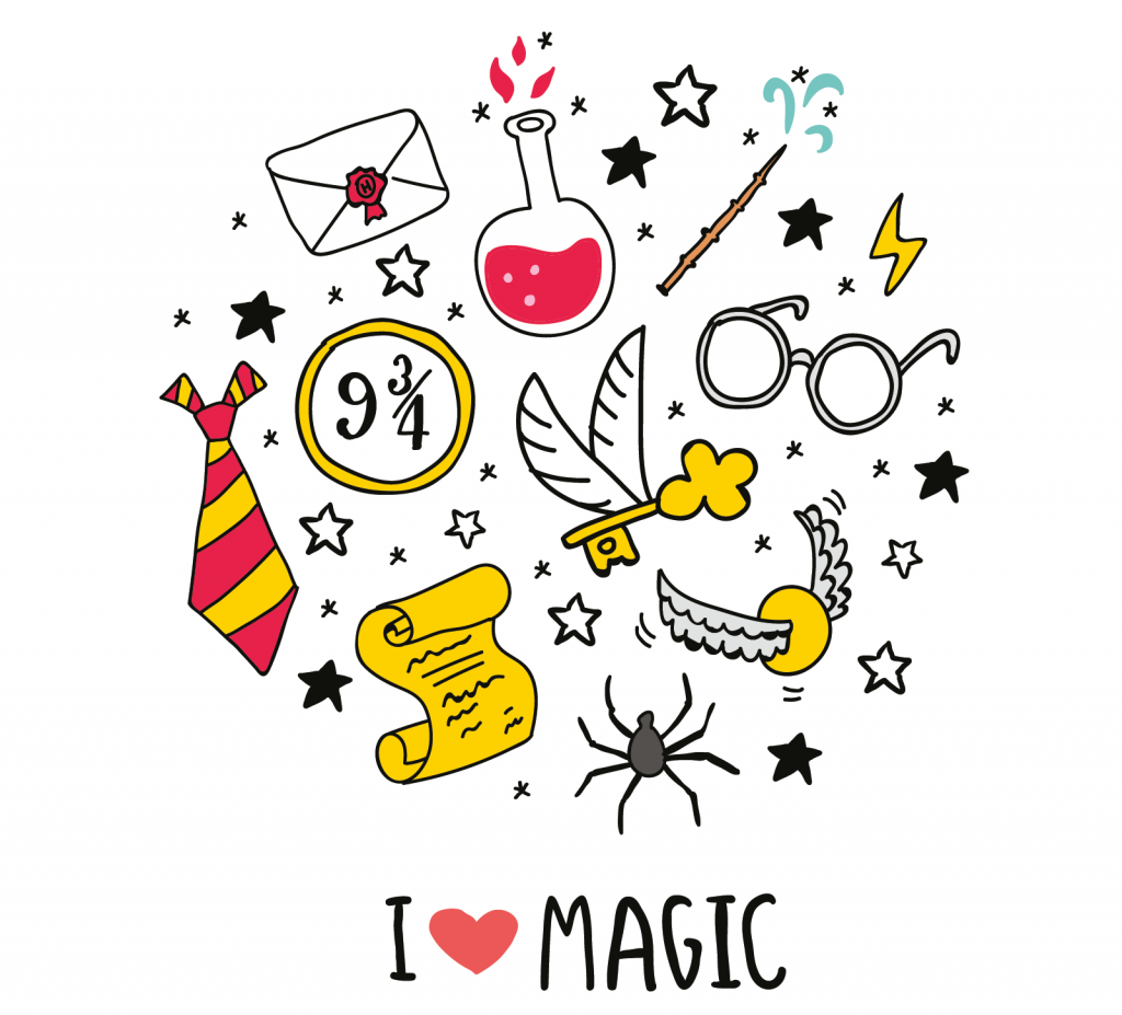 Illustration with the text I love magic