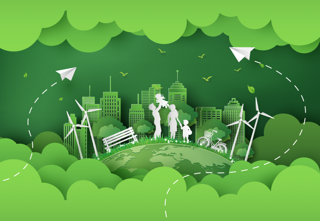 Illustration of an eco friendly environment in paper art style