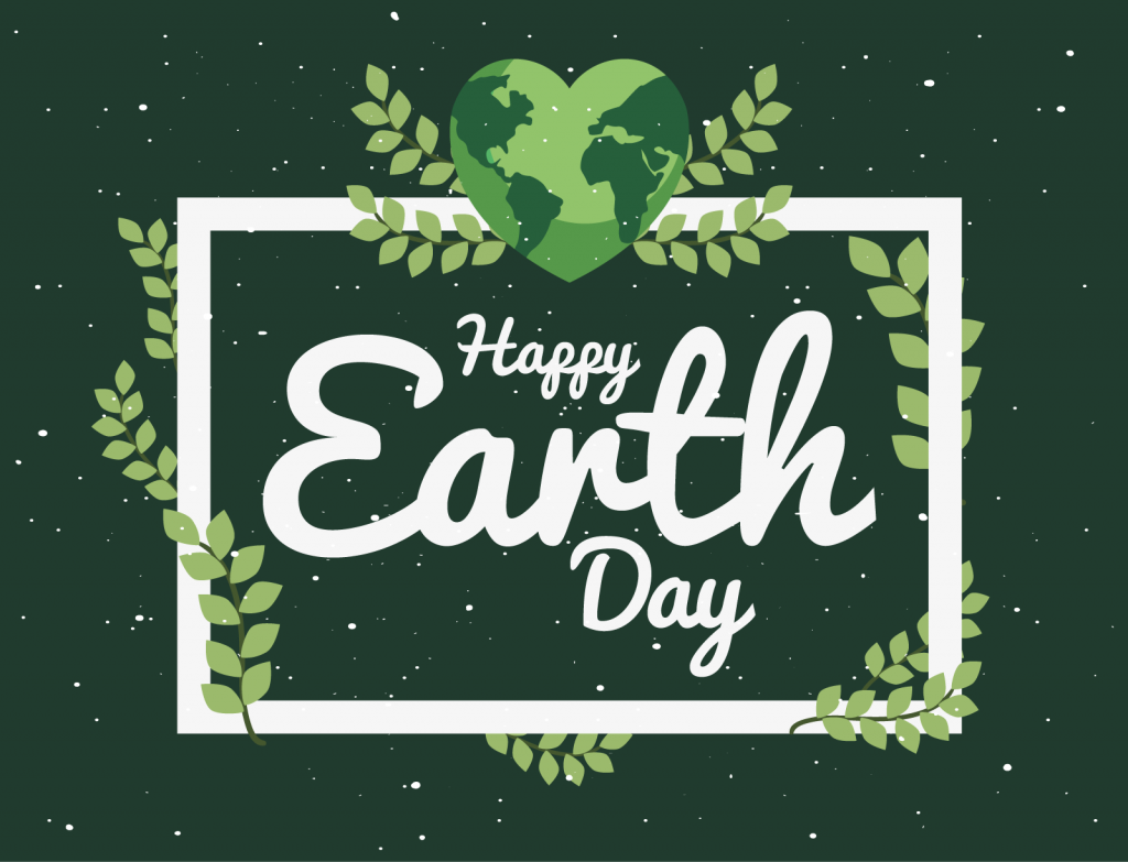 Illustration of happy Earth Day greeting in green colors