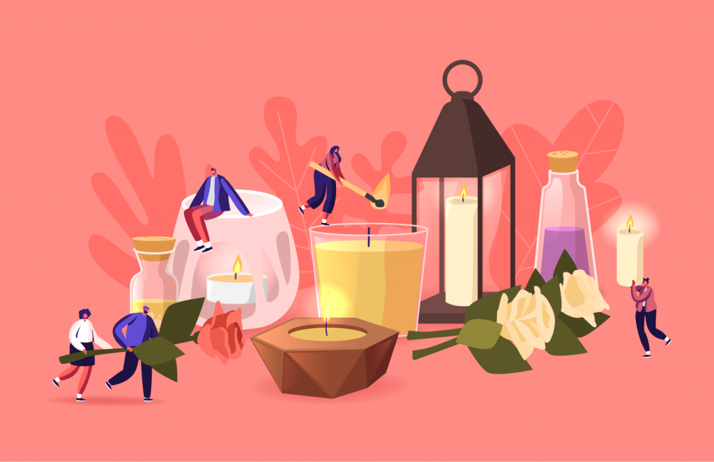 Illustration of people using colored aroma candles