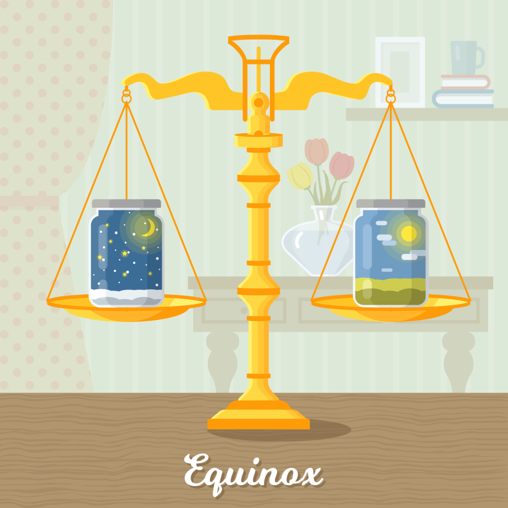 Illustration of the vernal equinox with scales and jars symbolizing equal daytime and nighttime