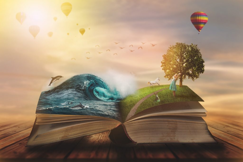 Illustration of an open magic book that creates visual imagery with pages of water and nature
