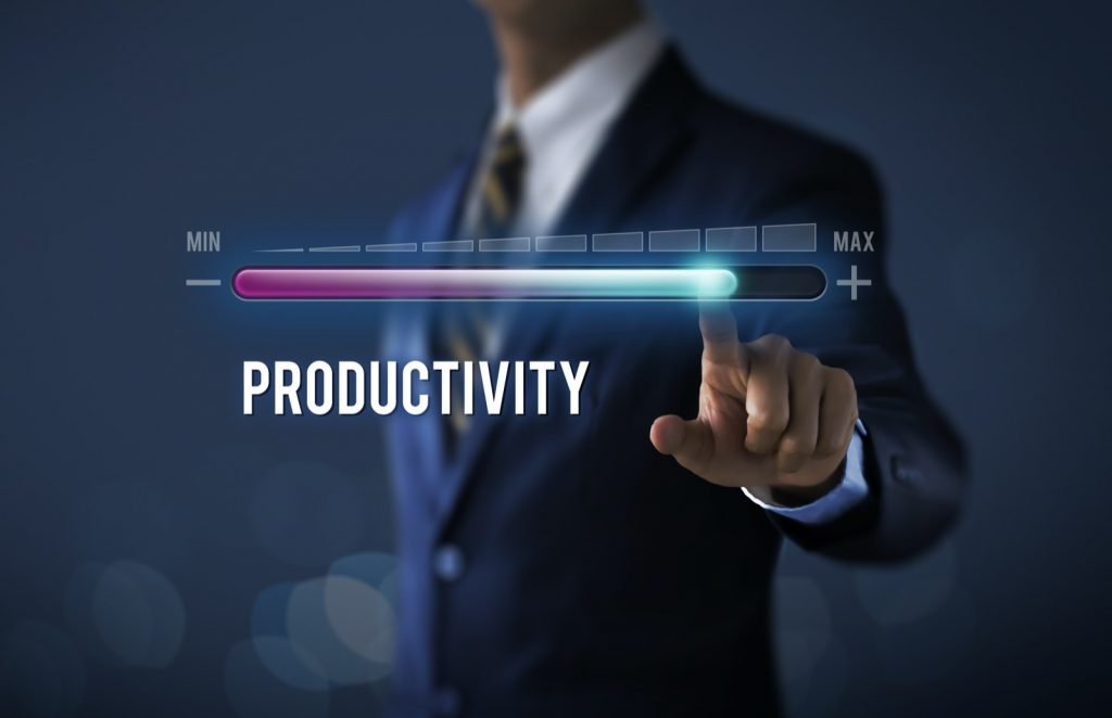 Increase productivity concept with businessman pulling up progress bar