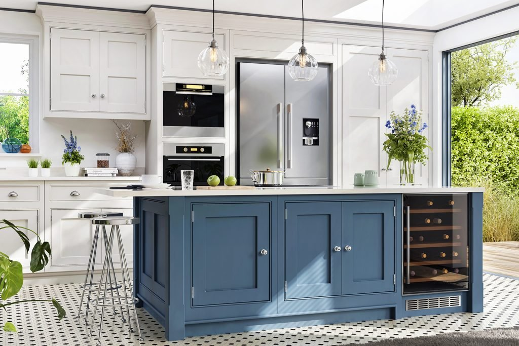 Interior design of kitchen in blue and white colors in modern house with open terrace