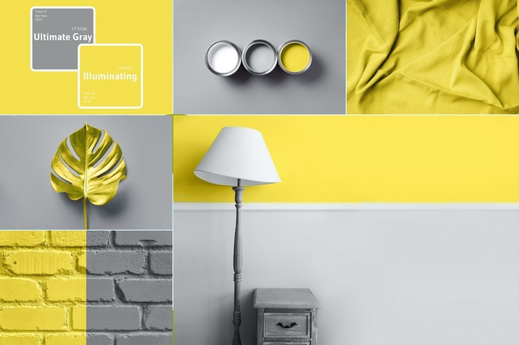 Interior design collage with the two trendy colors of year 2021 called Illuminating Yellow and Ultimate Gray