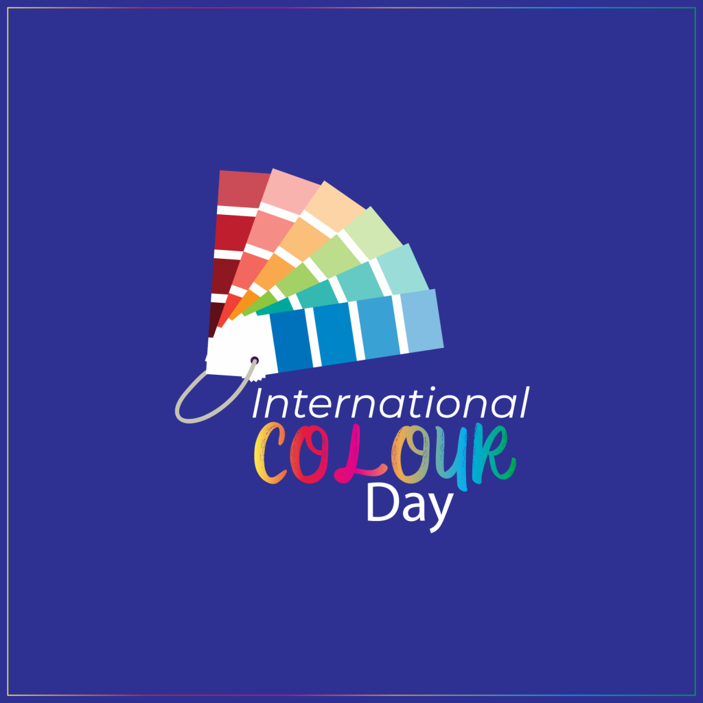 International Colour Day illustration with multi-colored palette swatches