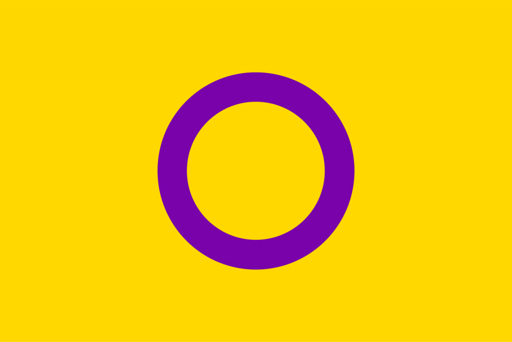 Yellow intersex pride flag with a purple circle in the middle