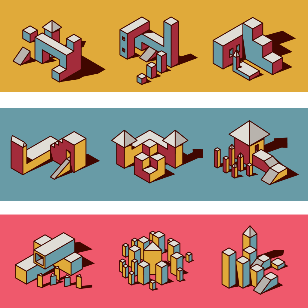 Set of isometric geometry in toned down triadic colors