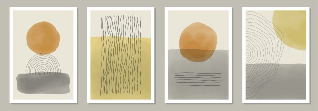 Ivory, peach and gray colored minimalistic art