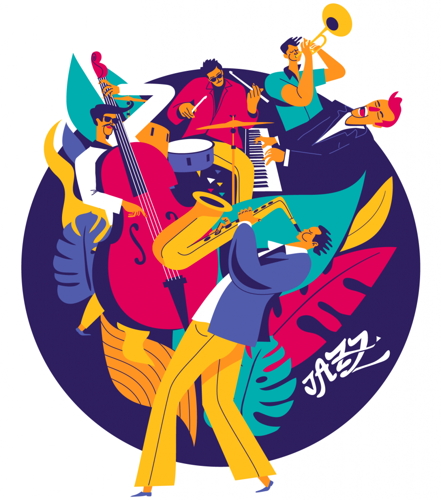 Jazz music festival with multiple musicians on colored floral background