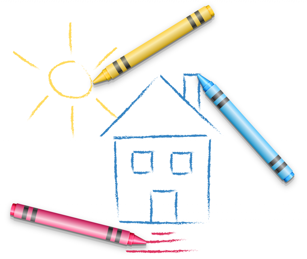 Kids hand drawing with house and sun made using blue, yellow and red crayons