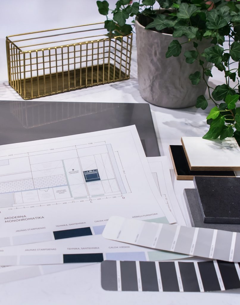 Kitchen drawings and design on a table. NCS catalog for color selection