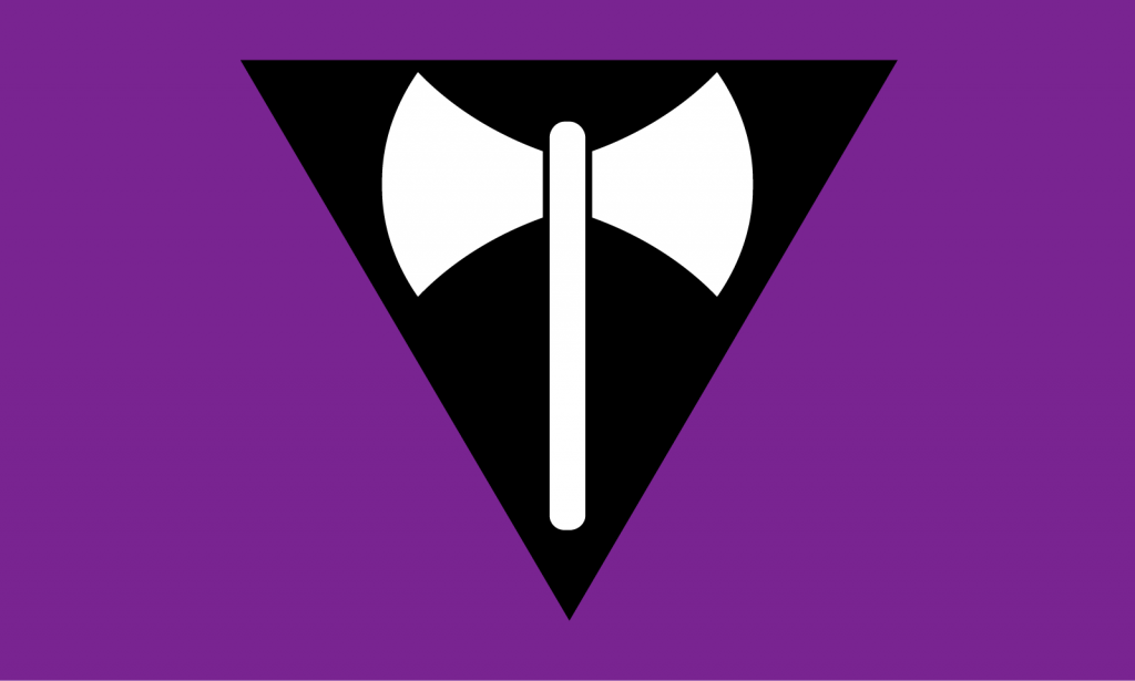 Labrys lesbian pride flag with inverted black triangle and axe
