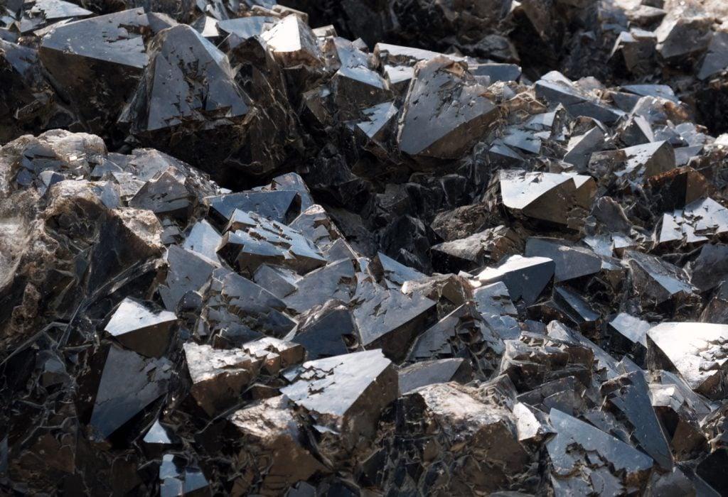 Large black quartz stone formation