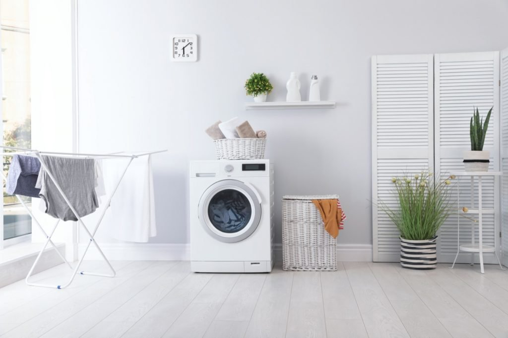 Bright and spacious laundry room interior