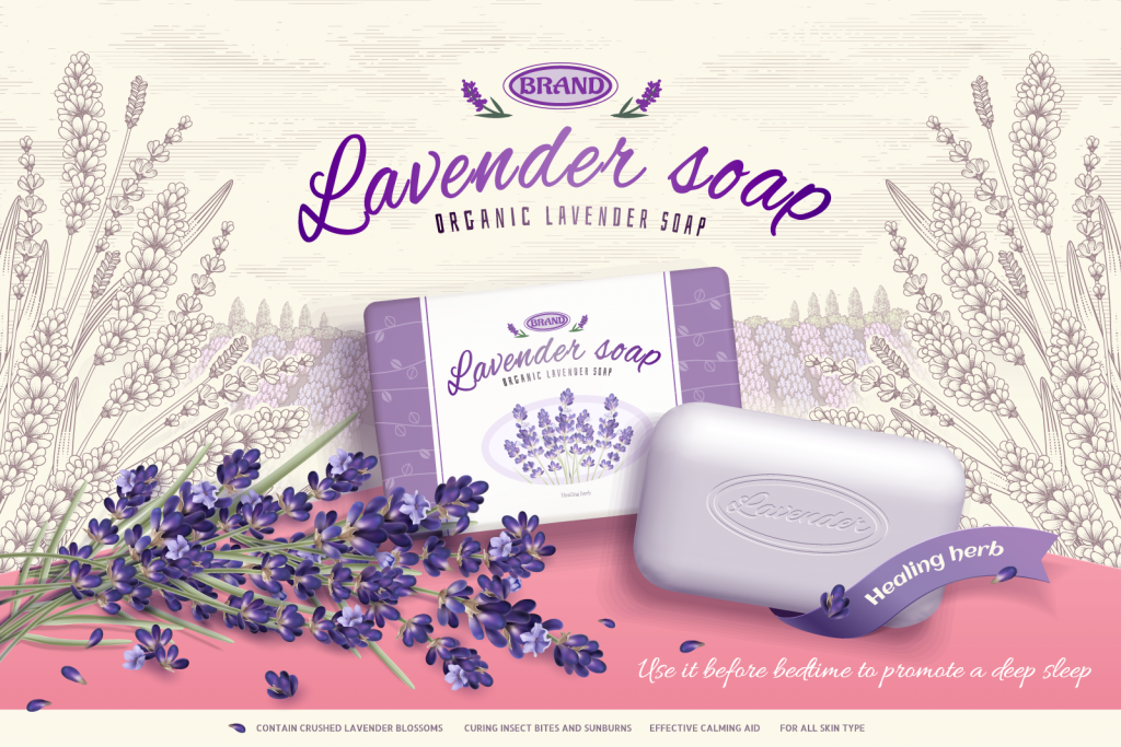 Lavender soap advertisement with emphasis on the soaps name