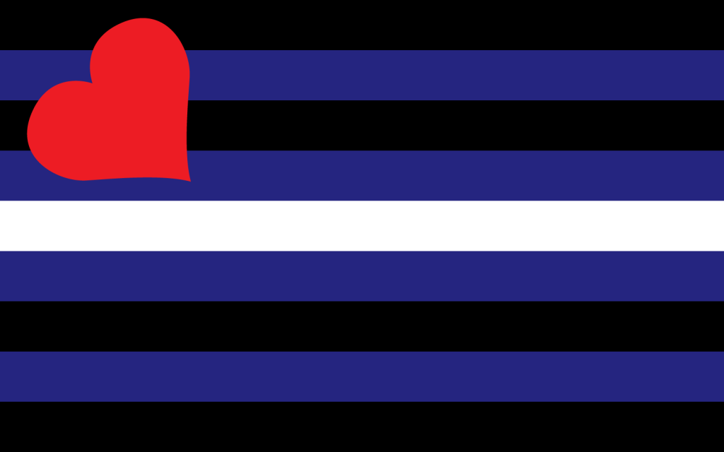 Black, blue and white striped leather pride flag with a red heart in the corner