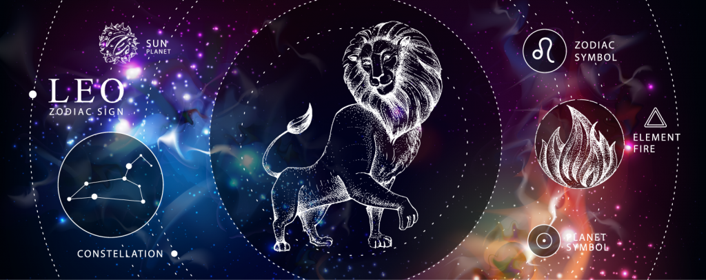 Leo astrology infographic with symbols