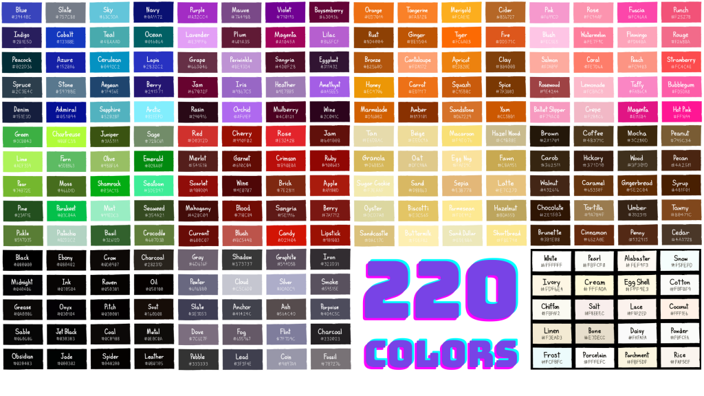 List of 220 Colors With Color Names and Hex Codes