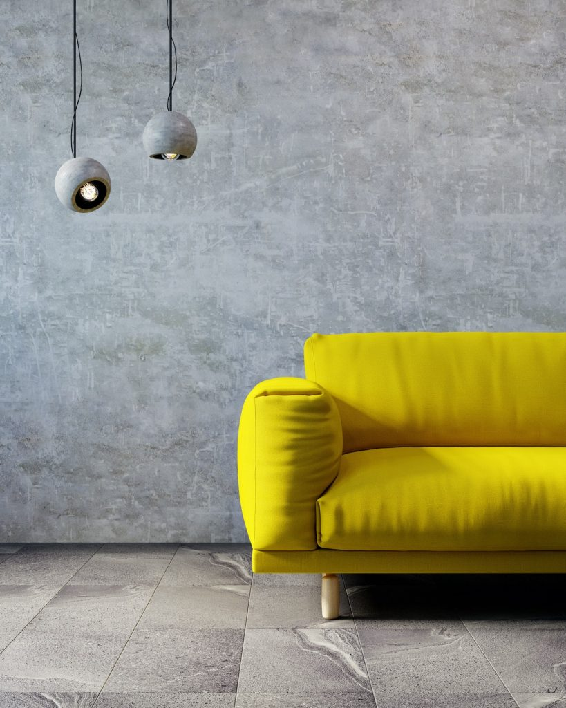 Living room interior in 2021 colors Ultimate Gray and Illuminating yellow